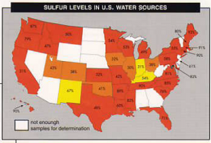 Map of USA showing sulfur levels in US Water Sources